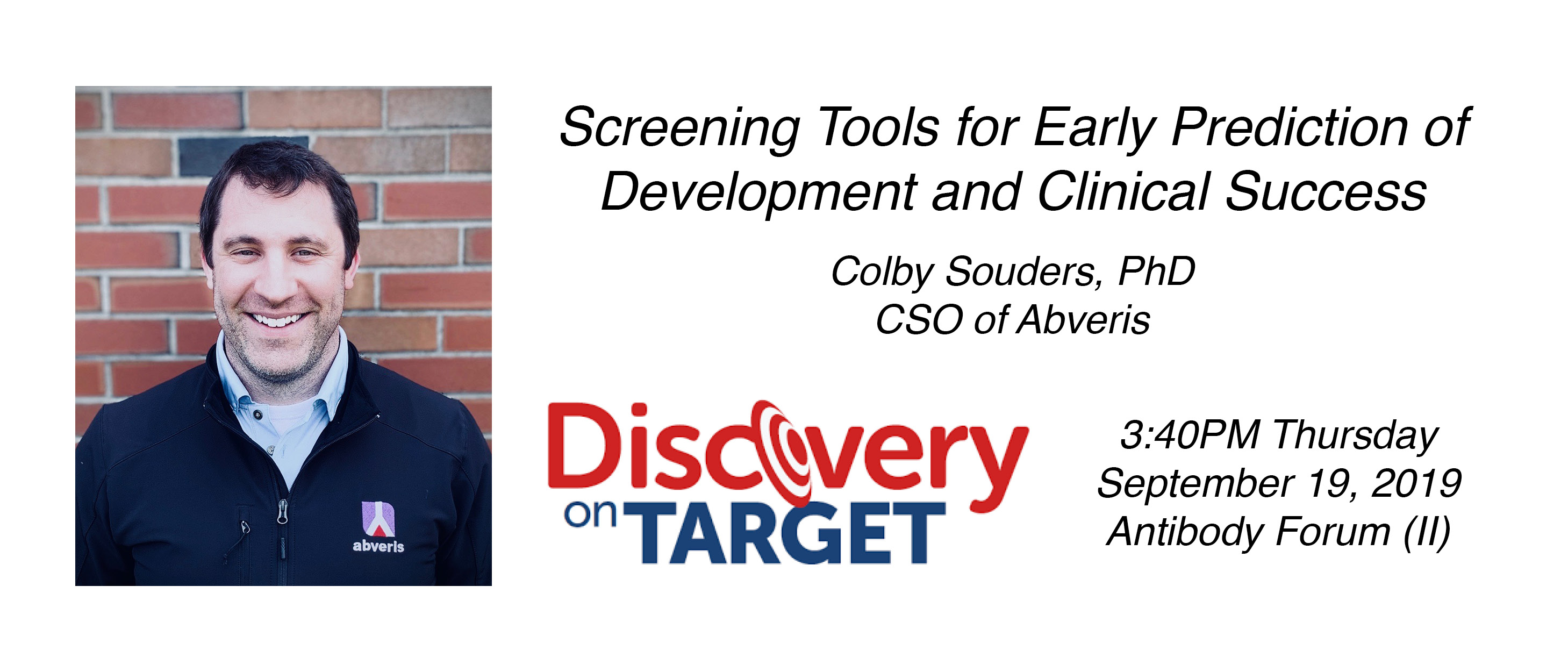 CSO of Abveris, Colby Souders, Ph.D., to Present at Discovery On Target 2019